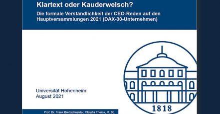"""Covermotiv der Studie """"Klartext oder Kauderwelch"""", August 2021, Universität Hohenheim, Prof. Dr. Frank Brettschneider"""