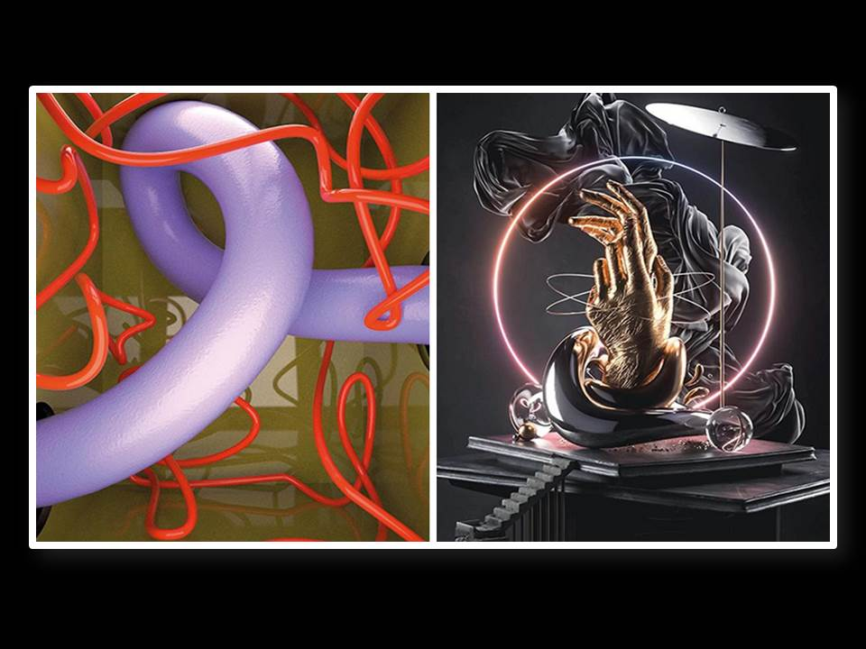 """Bild: Zwei Kunstwerke, die es in der THE ABSOLUT ART OF TOGETHERNESS Ausstellung zu sehen gibt (links: Day Care"""" von Ju Schnee, rechts: """"Una"""" von Marterium)"""