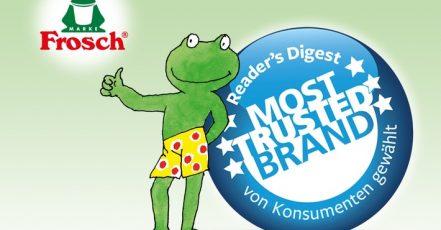 Trusted Brands Studie 2019: Frosch ist vertrauensvollste Marke in der Kategorie Haushaltsreiniger. (Quelle: obs/Werner & Mertz. Copyright Foto: Werner & Mertz)