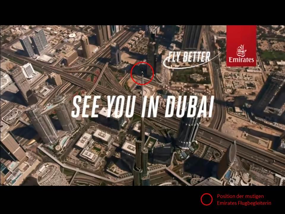 """Screenshot aus dem neuen Kampagnen-Video """"We're on top of the world"""" von Emirates Airline"""
