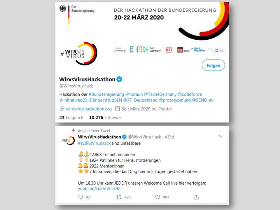 Screenshot: Das #WirvsVirusHack Hackathon der Bundesregierung auf Twitter @WirvsVirusHack_20.03.2020_20 Uhr