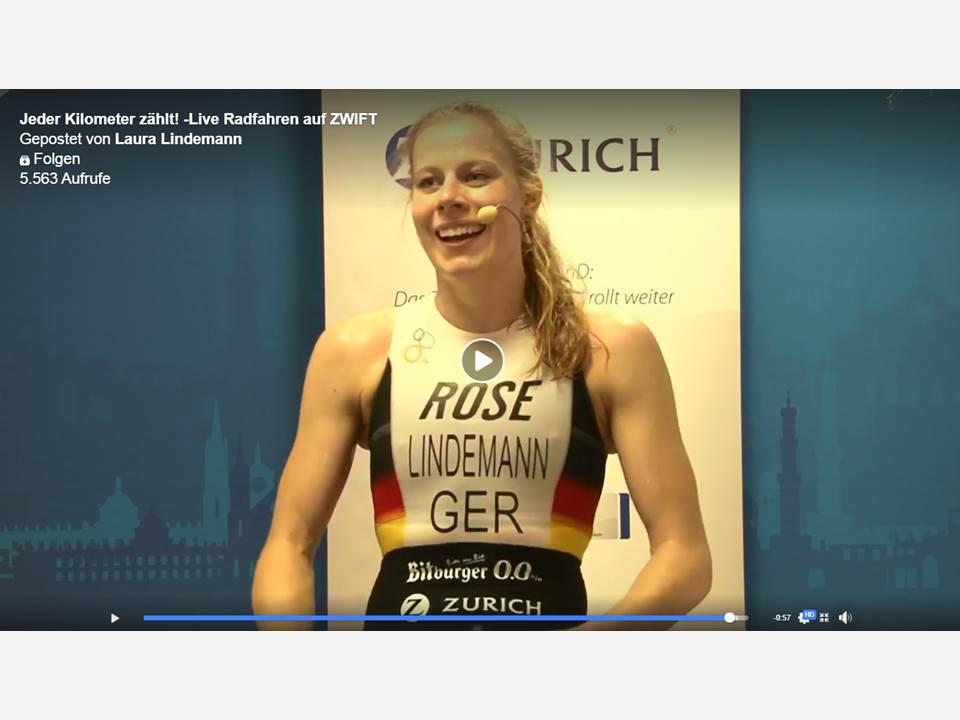 Bild: Zurich Spendenfahrrad_Triathletin Laura Lindemann im Live-Stream