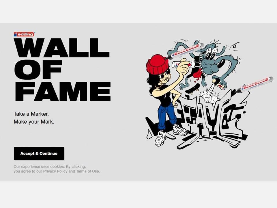Screenshot: Die Startseite der edding Wall of Fame (https://wall-of-fame.com/)