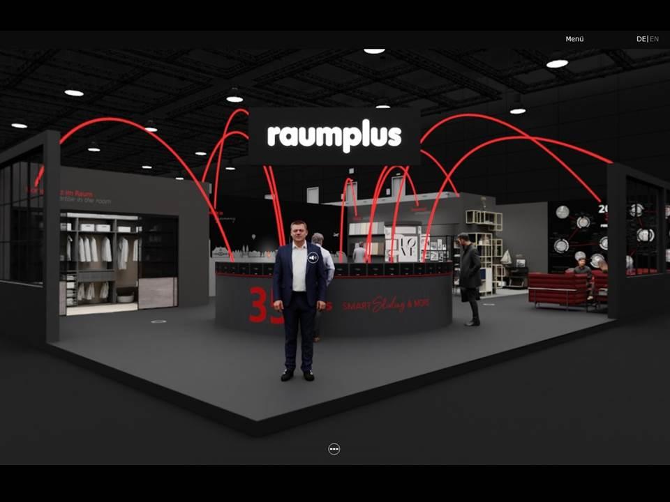 Bild: Der virtuelle 360° Messestand von raumplus, wie dieser eigentlich auf der imm cologne 2021 gezeigt werden sollte