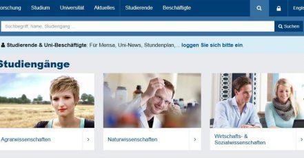 Screenshot: Homepage der Universität Hohenheim_02.01.2018